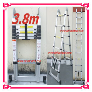 Popular 3.8m Double Telescopic Bamboo Aluminium Ladder pictures & photos