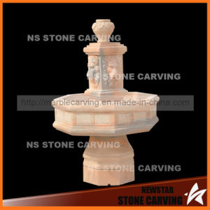 Natural Red Marble Small Water Fountain with Four Lions Head Carving pictures & photos