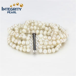 Freshwater Pearl Bracelet 5mm a+ Potato 5 Strands Fashion Pearl Bracelet Jewelry pictures & photos