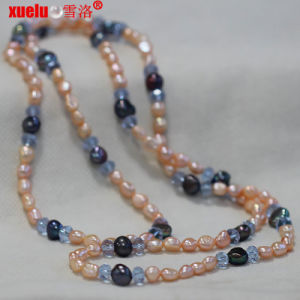 Wholesale Fashion Natural Pink Baroque Pearl Necklace Jewelry with Crystal pictures & photos