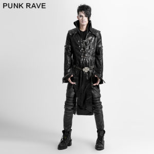 Unique Fashionable Heavy Leather Parka Coat with Skull Decoration (Y-261) pictures & photos