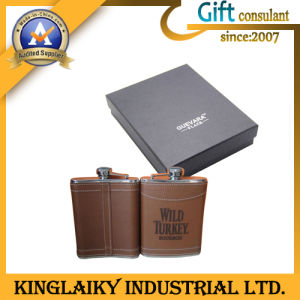 Customized High Class Hip-Flask with Leather for Gift (KF-006) pictures & photos