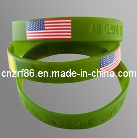 Debossed Silicone Wristband with Color Filled Finishing pictures & photos