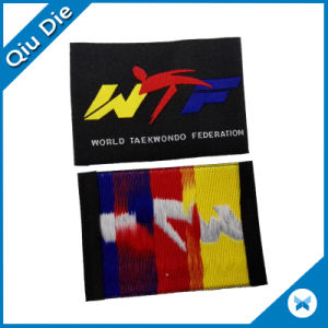 End Fold Taekwondo Logo Woven Label for Uniform Clothing pictures & photos