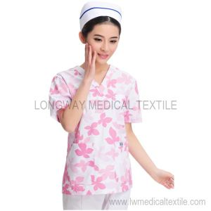 Red Leaf Painted Nursing Scrub Set (Y-0604RL)
