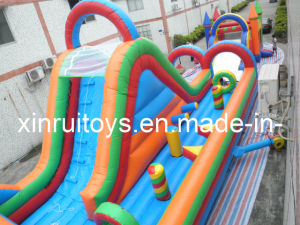Large PVC Inflatable Slide with Obstacle (XROB-430)