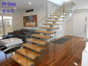 Simple Glass Railing Wood Staircase Design pictures & photos
