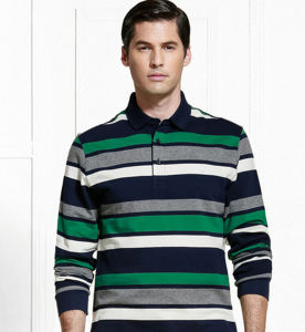 Wholesale Top Quality Long Sleeves Striped Casual Men′s Polo Shirt