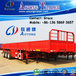 3 Axles 40ton-70t Bulk Cargo Semi Trailer, Side Boards Flatbed Semi Trailer, Flatbed with Side Wall, Open Side Board Cargo Semi Trailer, Sidewall Semi Trailer pictures & photos