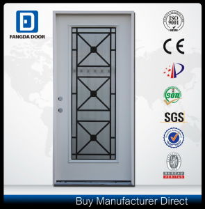 Exterior Full Lite Glass Inserted Steel Door Iron-Grill-Door-Designs pictures & photos