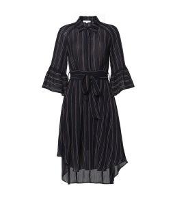 High-Waist Irregular Hemline Striped Women Dress with Puff Sleeve pictures & photos