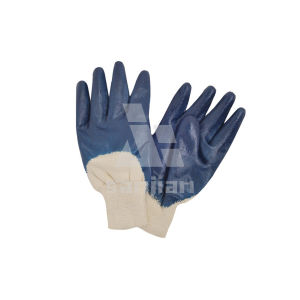 Flat Nitrile Finishing Jersey Cotton Gloves pictures & photos