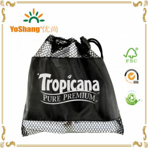 2016 Black Nylon Mesh Sport Drawstring Bag pictures & photos