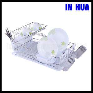 Single-Deck Chrome Plated with Plastic Tray Dish Drainer
