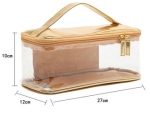 PU Transparent Top Hanle Cosmetic Bag pictures & photos