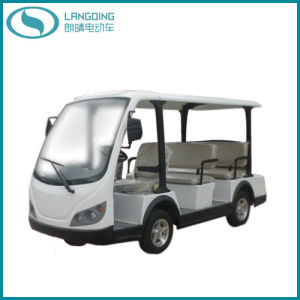 CE Electric Shuttle Bus Sightseeing Car Power-Assisted Steering with Gearbox 8 Seats