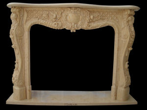 Beige Marble Flower Carving Fireplace (FRP344) pictures & photos