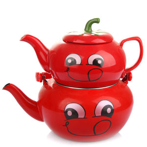 2 PCS Enamel Kettle Set in Watermelon Shape pictures & photos