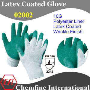 10g White Polyester/Cotton Knitted Glove with Green Latex Wrinkle Coating/ En388: 2242 pictures & photos