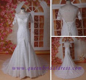 Romantic 1/2 Sleeve Wedding Dress, Illusion Wedding Dress, Lace Wedding Dress