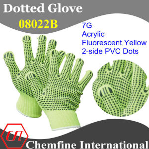 7g Fluorescent Yellow Acrylic Fiber Knitted Glove with 2-Side Black PVC Dots pictures & photos