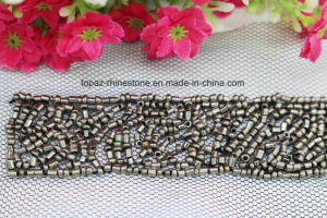 Jet Hematite Round Beads Lace Strip Sew on Rhinestone Patches (TA-030) pictures & photos