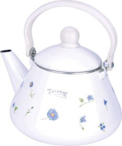 White Enamel 2L Teapot with Decal pictures & photos