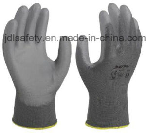 Gray Nylon Work Glove with PU Coated (PN8118) pictures & photos