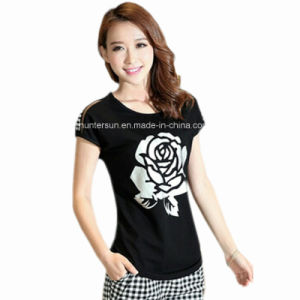 Women Slim Fit Rose Printed with Strassed T Shirt (HT8088)