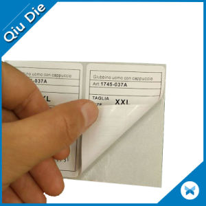 White Coated Paper Barcode Sticker Label for Nylon Clothing pictures & photos