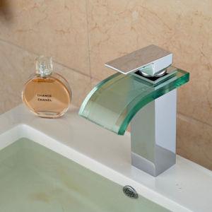 Deck Mount Chrome Glass Spout Bathroom Sink Mixer pictures & photos