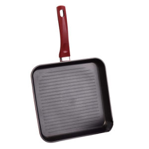 Nonstick Aluminium Griddle Grill Pan with Red Exterior Coating pictures & photos