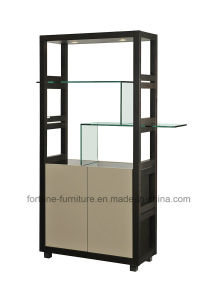Wooden Black+High Gloss Khaki Display Cabinet with Glass Decaration (I&D-A-10)