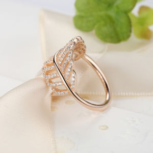 925 Sterling Silver Light as a Feather Ring Rose & Clear CZ Finger Ring for Women Fashion Wedding Authentic Fine Jewelry Ring pictures & photos