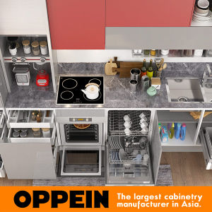 360cm Width Standard Kitchen Cabinet with Lacquer Finish (OP17-L02) pictures & photos