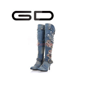 Special Jean Upper Material Rhinestone Decoration Over The Knee Boots pictures & photos