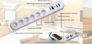 6 Outlets French Type Functions Master-Slave Socket with USB Charge Port pictures & photos