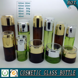 Dark Brown Colored Glass Cosmetic Bottle and Cosmetic Glass Jar with Acrylic Lid pictures & photos
