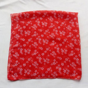Polyester Cotton Voile Small Square Scarf Red pictures & photos