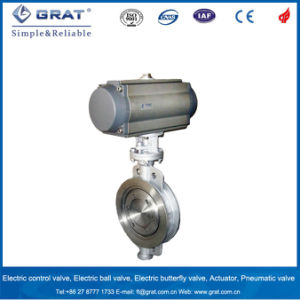 Stainless Steel Metal Seal 3 Eccentric Butterfly Valve with Double Action Pneumatic Driver pictures & photos