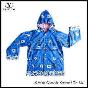 Childrens Kids Blue PU Rain Jacket Parka Kids Rain Coats pictures & photos