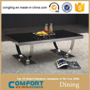 C8026 Glass Top Coffee Table, Stainless Steel Leg Feet