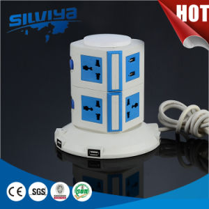 Multi 2 Layers Electric Tower Socket with 2100mA USB pictures & photos