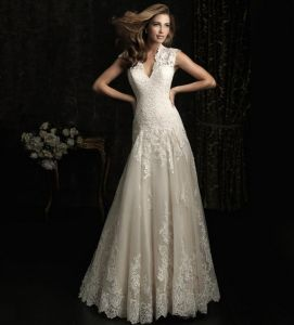 Lace Deep V Collar Fish Tail Exposed Bride Wedding Dress pictures & photos