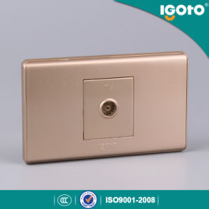 118*74mm TV Socket with Golden Color pictures & photos