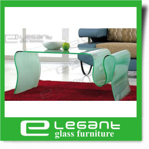 Modern Style Wavy Clear Bent Glass Magazine Table pictures & photos