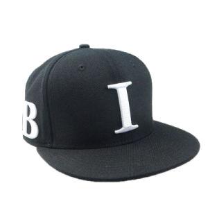 Simple Black Flat Brim Cotton Snapback Cap pictures & photos