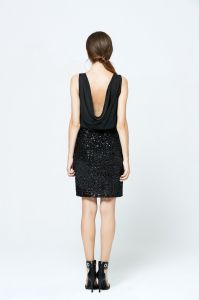 Best Price Latest Products Sequin Sleeveless Sexy Black Chiffon Dress pictures & photos