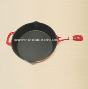 Round Enamel Cast Iron Skillet with Handle Dia 31cm pictures & photos