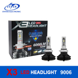 X3 Automotive 50W 6000lm LED Headlight Fanless High Lumen Car LED Bulbs H4 H7 9005 9006 pictures & photos